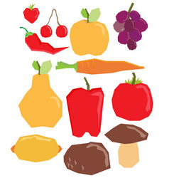 flat fruit and vegetables set vector image vector image