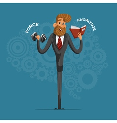Happy businessman or manager shakes his strength vector image