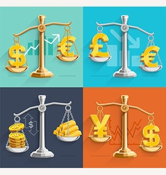 Money sign icons and gold bars on the scales vector image vector image
