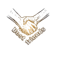 sketch of handshake friendship day design vector image vector image