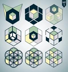 3d logo set 1 vector image