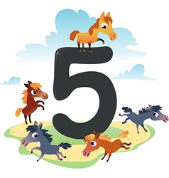 Collection number for kids farm animals - number 5 vector image