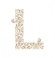floral letter l ornament font vector image vector image