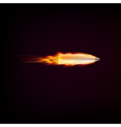 Flying bullet with red tongues of flame vector image