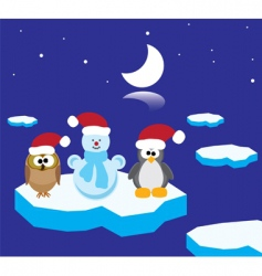 owl penguin and snowman vector image vector image