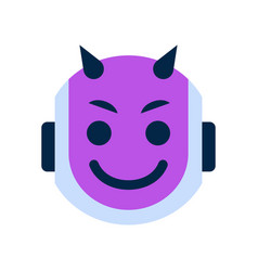 Robot face icon smiling devil face emotion robotic vector