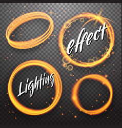 set of circle and eclipse shining light effects vector image
