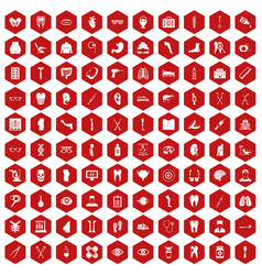 100 medicine icons hexagon red vector