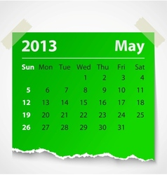 2013 calendar may colorful torn paper vector image
