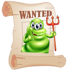 A wanted monster holding death fork vector