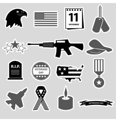 American veterans day celebration stickers set vector