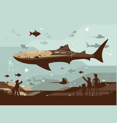aquarium with large marine fishes vector image