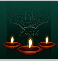 awesome diya background for diwali festival vector image