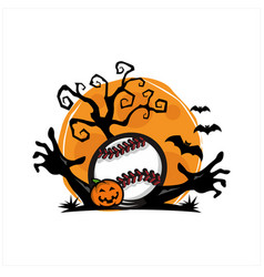 baseball halloween moon theme vector image