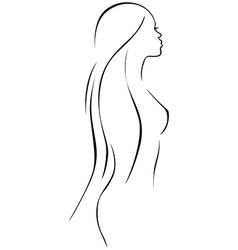 beautiful woman - black line drawing vector image
