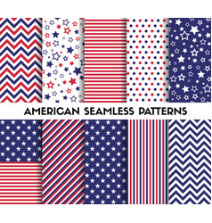 big set of american style seamless patterns vector image