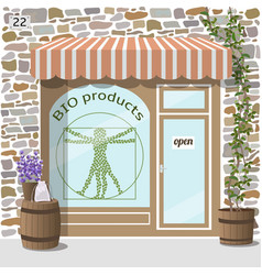 bio products shop organic products store vector image vector image
