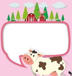 Border design with cow and farm vector