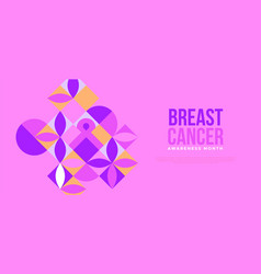 breast cancer month mosaic flower ribbon template vector image