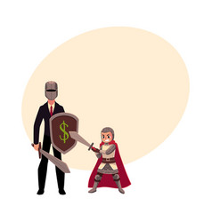 businessman as knight with helmet sword shield vector image