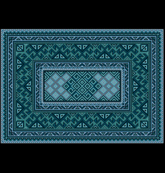 Carpet ethnic ornament in green and blue shades vector