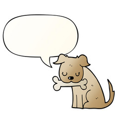 cartoon dog and speech bubble in smooth gradient vector image