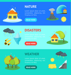 cartoon natural disaster banner horizontal set vector image