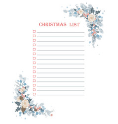 christmas to do checklist with froral corner frame vector image