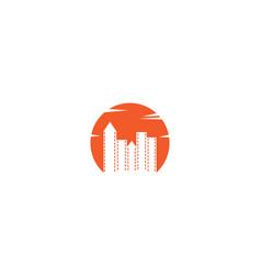 City sunset isolated silhouette logo design vector