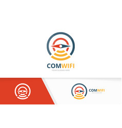 Compass and wifi logo combination vector