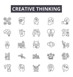 creative thinking line icons signs set vector image