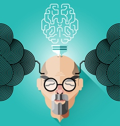 Creative thinking old business man concept vector