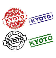 Damaged textured kyoto seal stamps vector