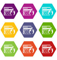 Database and firewall icon set color hexahedron vector