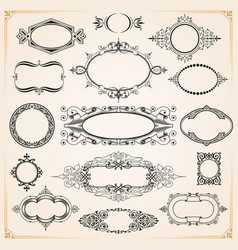 Decorative rounded circle and oval frames borders vector