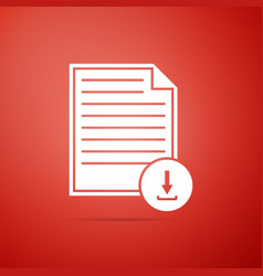 document with download sign icon isolated vector image