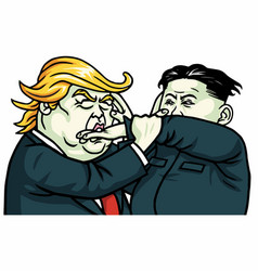 donald trump versus kim jong-un fighting cartoon vector image