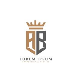 elegant wordmark ab initial shield crown logo vector image