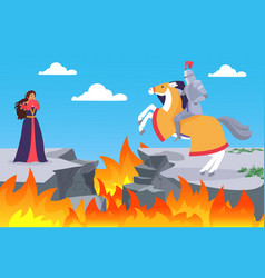 fairy tale rescuing princess horseman knight vector image