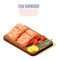 Fish superfood isometric design concept vector