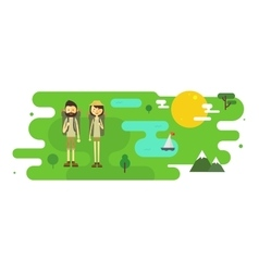Flat cartoon couple with hiking equipment vector image