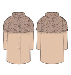 Front and back view of a coat vector