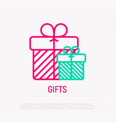gifts with bow thin line icon vector image