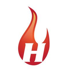 h letter flame logo vector image