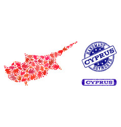 handmade composition of map of cyprus island and vector image