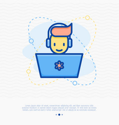 happy gamer with laptop and headset vector image
