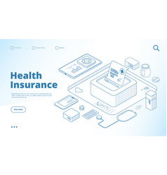 health insurance landing healthcare personal plan vector image