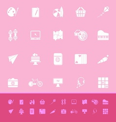 Hobby color icons on pink background vector image