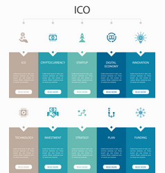 Ico infographic 10 option ui designcryptocurrency vector