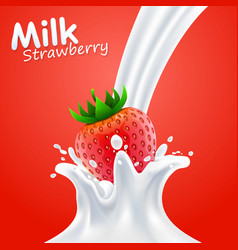 label milk strawberry art banner vector image